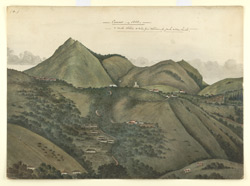 Hilly landscape with bungalows and church, Coonoor 2313